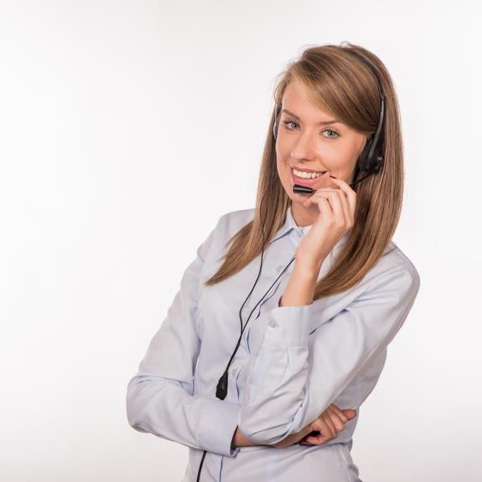Woman customer service worker, smiling operator with phone headset